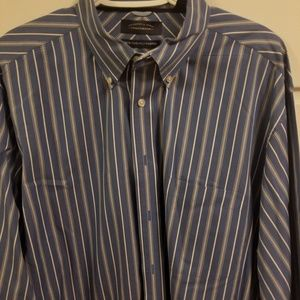 Roundtree & York  80's two ply fabric blue stripes